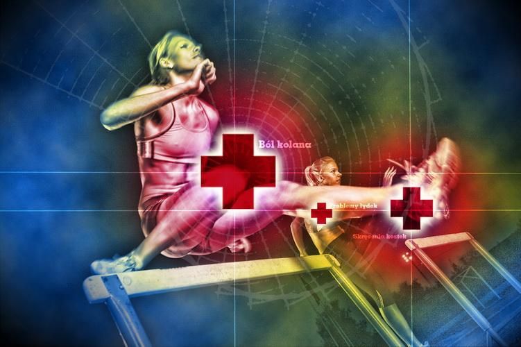 Kontuzje biegaczy - ból kolan i mięśni łydek. Rys. Krzysztof Dołęgowski