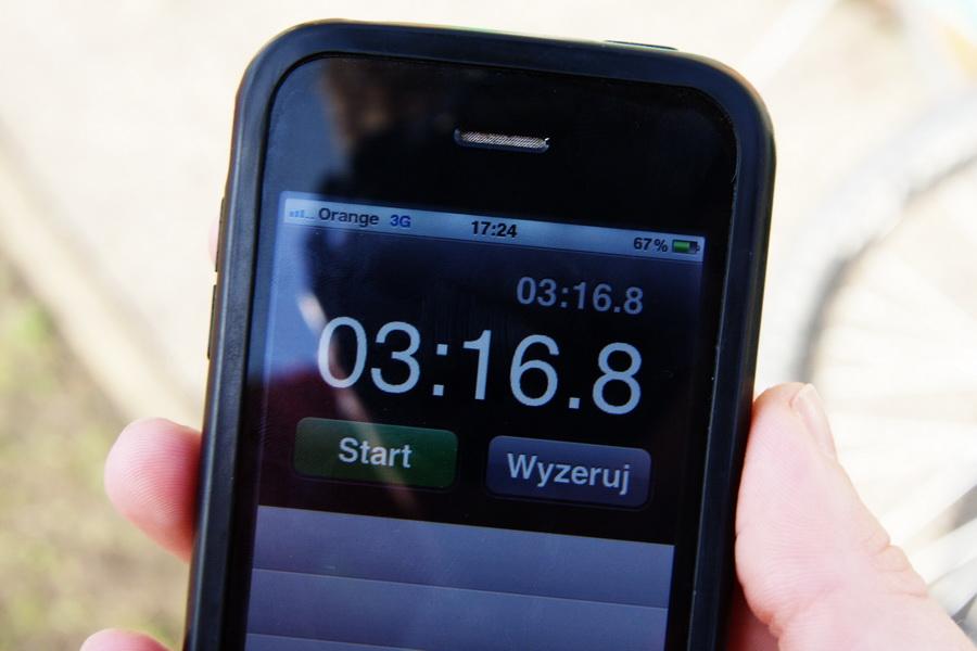 Wynik Michała Hurkacza. Poprawił się aż o 9.16 s w ciągu tygodnia na 1000 m. Fot. Krzysztof Dołęgowski