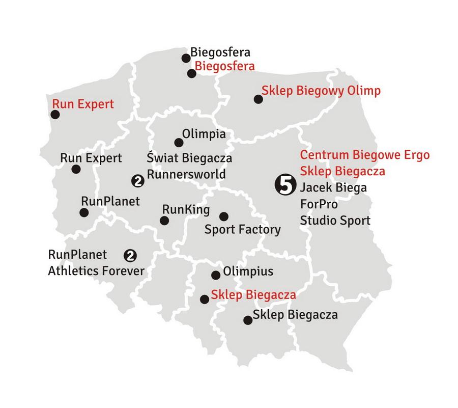 Mapa sklepów biegowych w Polsce w 2012 roku. Rys. Krzysztof Dołęgowski