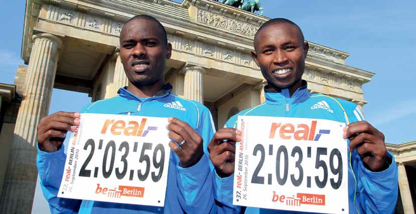 Patrick Makau i Geoffrey Mutai w Berlinie. Fot. Photorun.net