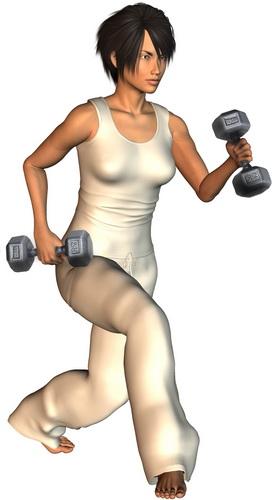Ćwiczenia siłowe dla biegacza - wykroki z ciężarami. Rys. Magda Ostrowska-Dołęgowska
