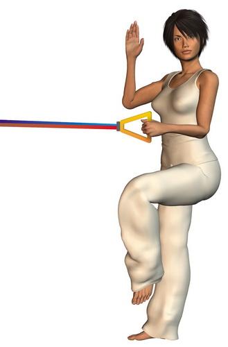 Ćwiczenia siłowe dla biegacza - przyciąganie liny na jednej nodze. Rys. Magda Ostrowska-Dołęgowska