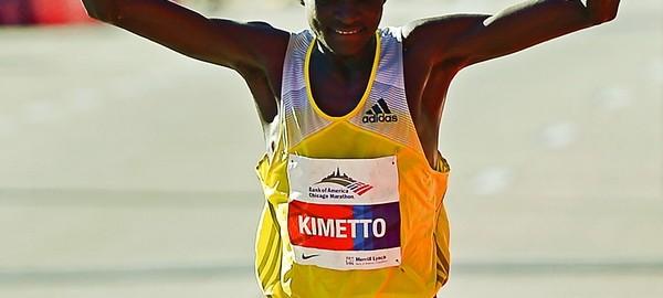 Dennis Kimetto - zwycięzca Chicago Marathon. Fot. PAP