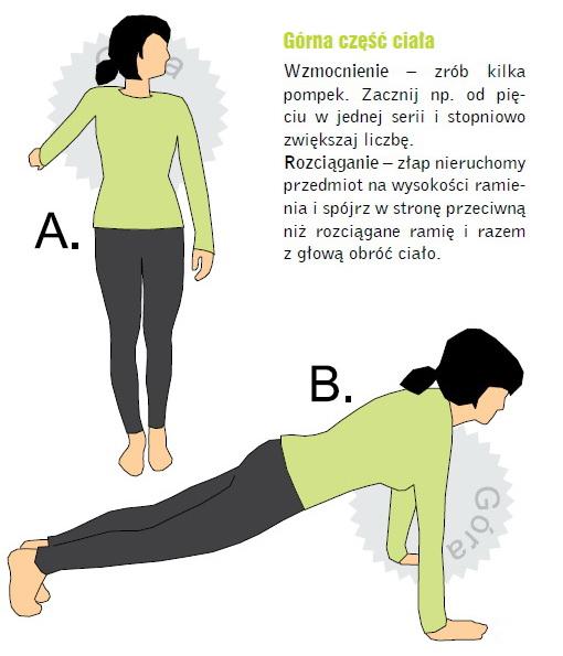 Ćwiczenia dla biegaczy na górną część ciała. Rys. Magda Ostrowska-Dołęgowska