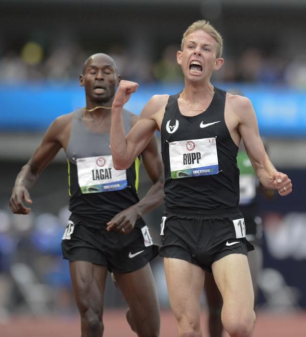 Galen Rupp zwycięża na 5000 metrów w Mistrzostwach Stanów Zjednoczonych w Lekkoatletyce 2012. Fot. PAP