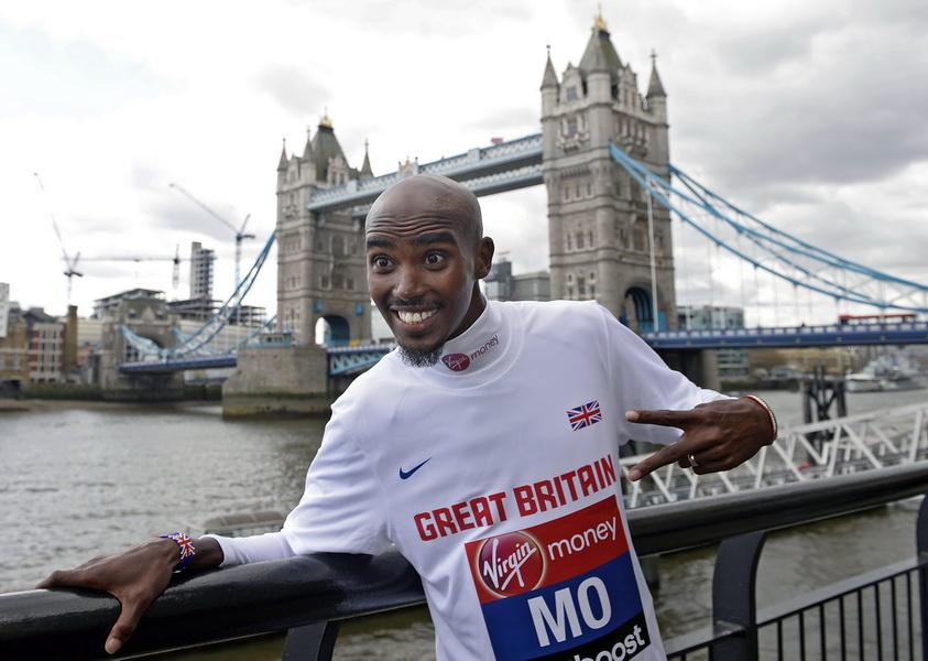 Mo Farah zadebiutuje w maratonie w Londynie 13 kwietnia 2014. Fot. PAP