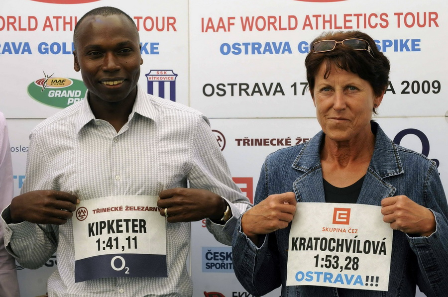Jarmila Kratochvilova z Wilsonem Kipketerem. Fot. PAP