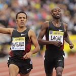 Leonel Manzano i Bernard Lagat podczas Diamentowej Ligi w Londynie 2011. Fot. PAP