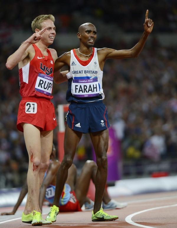 Galen Rupp i Mo Farah na Igrzyskach Olimpijskich w Londynie w 2012 roku. Fot. PAP