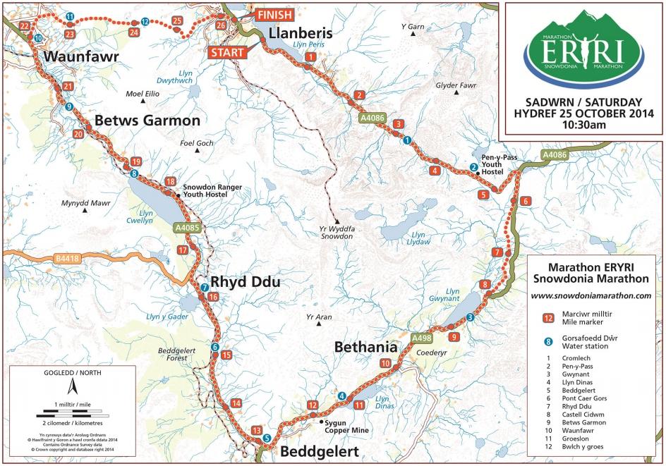 Snowdonia Maraton mapa trasy