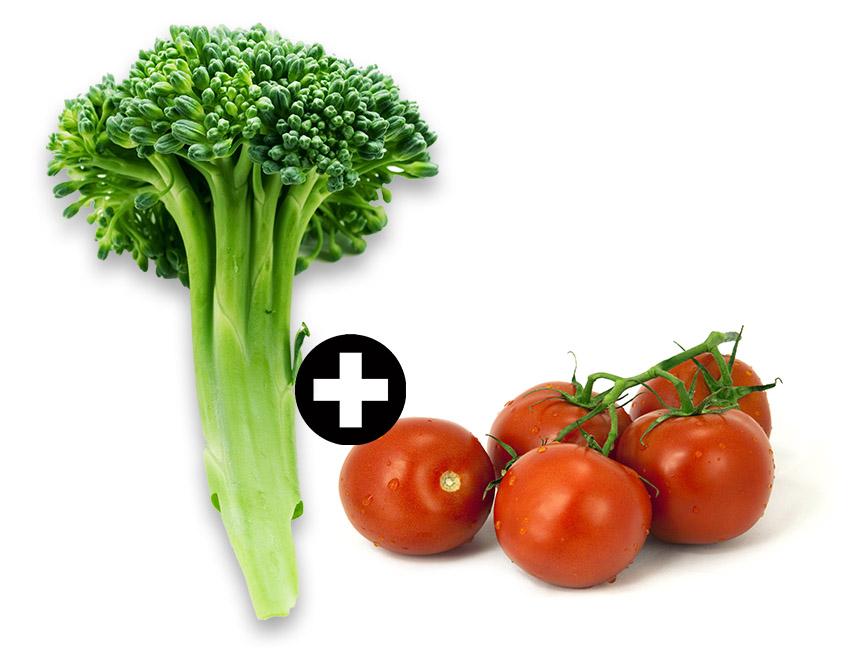 brokul - pomidory