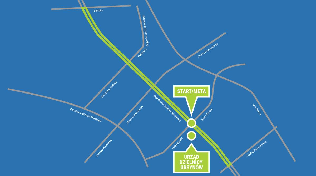 Bieg Ursynowa 2015 - mapa trasy