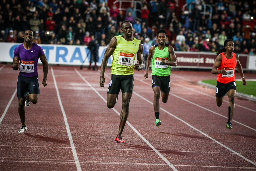 Usain Bolt w biegu na 200 m. Fot. Aleksandra Szmigiel-Wiśniewska