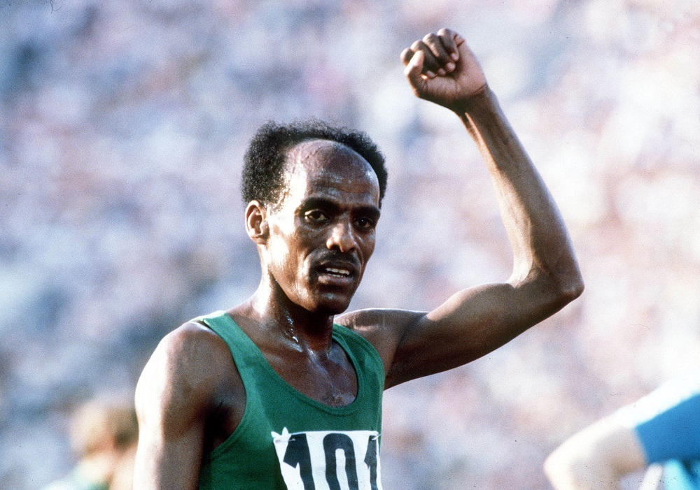 1980 Olympic Games, Moscow, USSR, Men's 5000 Metres Final, Ethiopia's Miruts Yifter celebrates after winning the gold medal