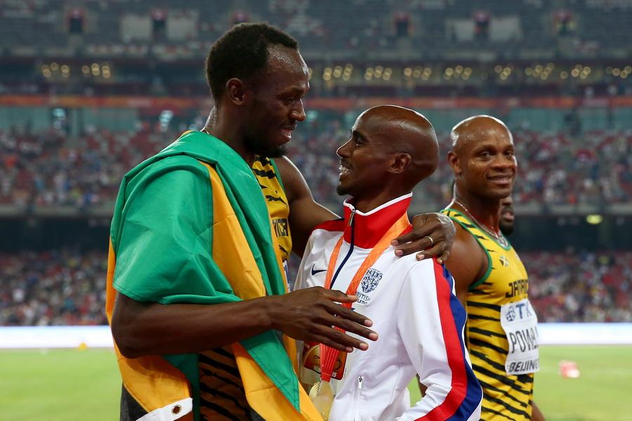 Usain Bolt i Mo Farah - wielkie gwiazdy mistrzostw świata w lekkoatletyce w Pekinie 2015. Fot. Getty Images