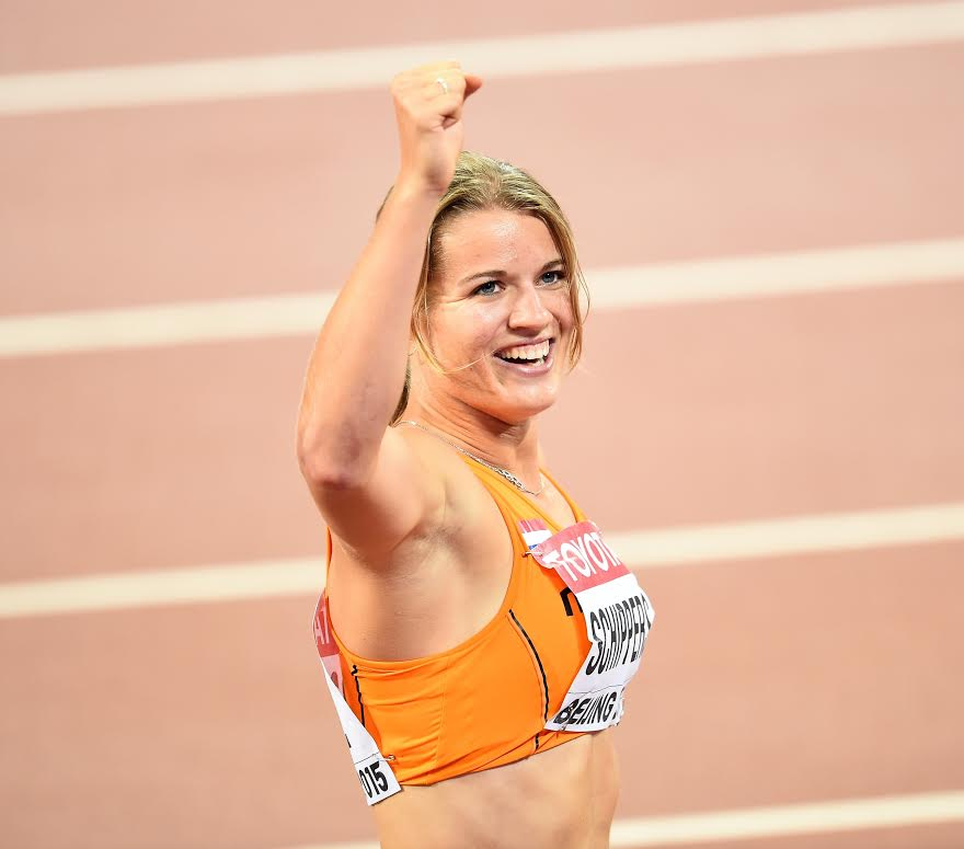 BEIJING, CHINA - AUGUST 24: Dafne Schippers of the Netherlands celebrates after winning the silver medal in the women's 100m final during the '15t IAAF World Athletics Championships Beijing 2015' at Beijing National Stadium (Bird's Nest) on August 24, 2015. (Photo by Mustafa Yalcin/Anadolu Agency/Getty Images)