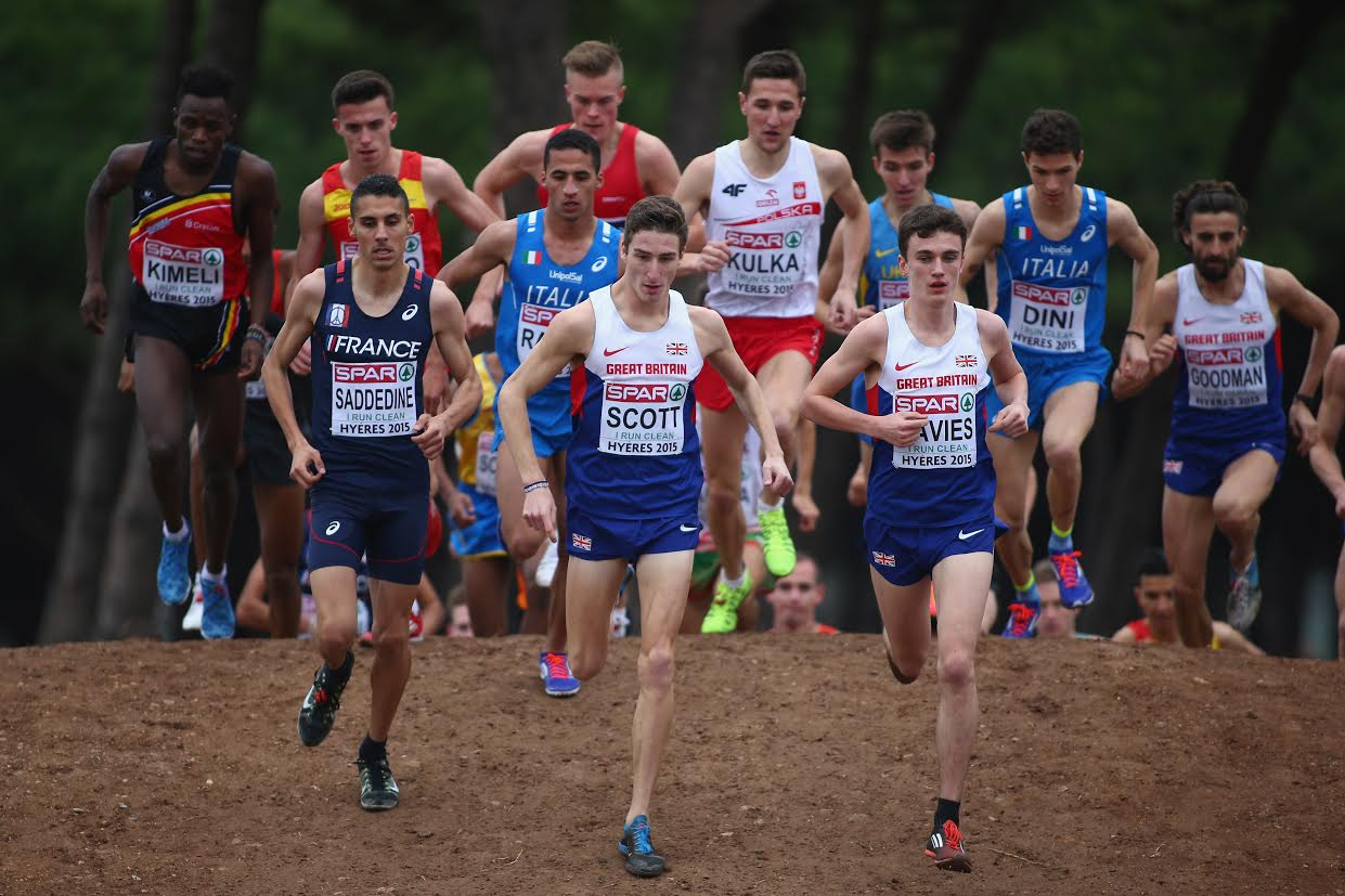 HYERES, FRANCE - DECEMBER 13: Jonathan Davies (R) of Great Britain eventual winner leads the way alongside team mate Marc Scott (C) in the U23 Men's race during the Spar European Cross Country Championships on December 13, 2015 in Hyeres, France. (Photo by Michael Steele/Getty Images)