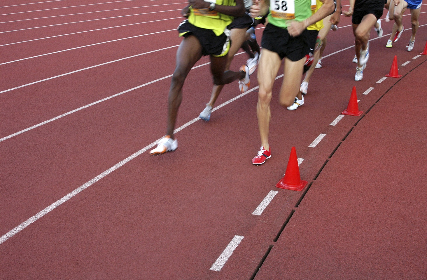 Running athletes at the stadium