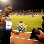 DOHA, QATAR - MAY 06:  Caster Semenya of South Africa celebrates after victory in the Women's 800 metres final during the Doha IAAF Diamond League 2016 meeting at Qatar Sports Club on May 6, 2016 in Doha, Qatar.  (Photo by Warren Little/Getty Images)