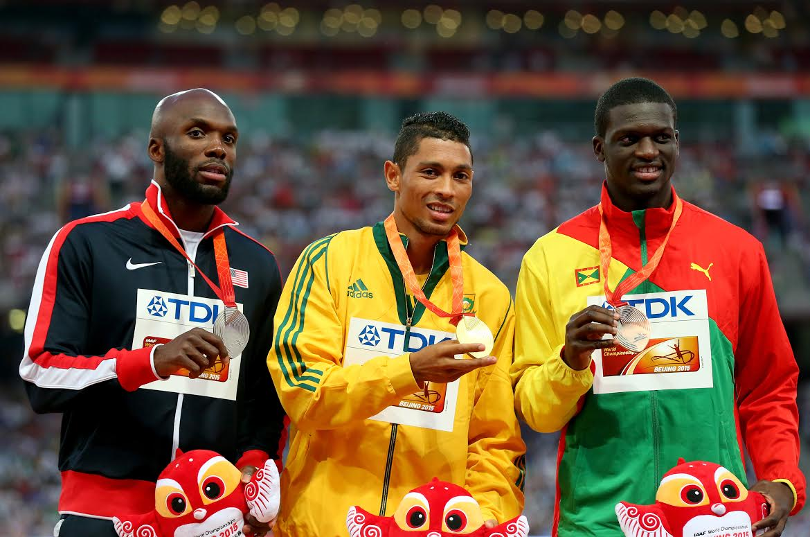 LeShawn Meritt, Wayde van Niekerk i Kirani James w Pekinie 2015 Fot Getty Images 485339468