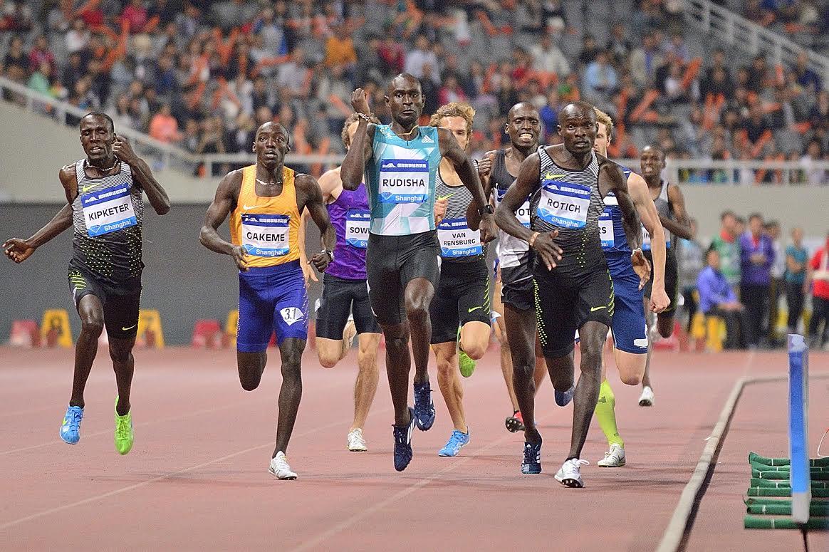 SHANGHAI, CHINA - MAY 14: David Rudisha of Kenya (c) runs in the Men's 800m during the 2016 IAAF Diamond League at Shanghai Stadium on May 14, 2016 in Shanghai, China. (Photo by Marcio Machado/Getty Images)
