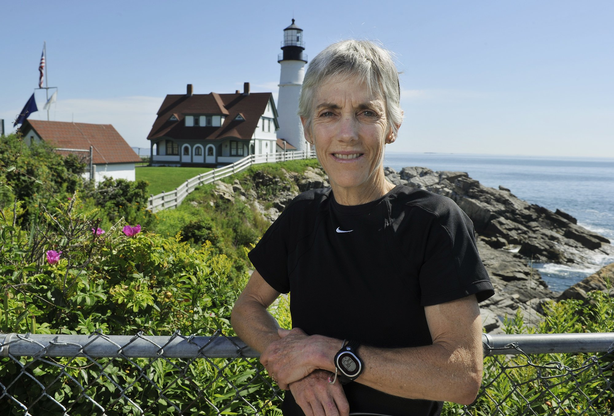 Joan Benoit Samuelson discusses this year's upcoming Beach to Beacon 10k road race.  (Photo by John Ewing/Portland Press Herald via Getty Images)