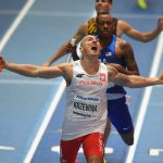 BIRMINGHAM, ENGLAND - MARCH 04:  Jakub Krzewina of Poland wins the Men's 4 x 400m Relay Final from Vernon Norwood of the United States during Day Four of the IAAF World Indoor Championships at Arena Birmingham on March 4, 2018 in Birmingham, England.  (Photo by Tony Marshall/Getty Images)