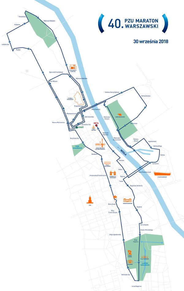 trasa PZU Maratonu Warszawskiego