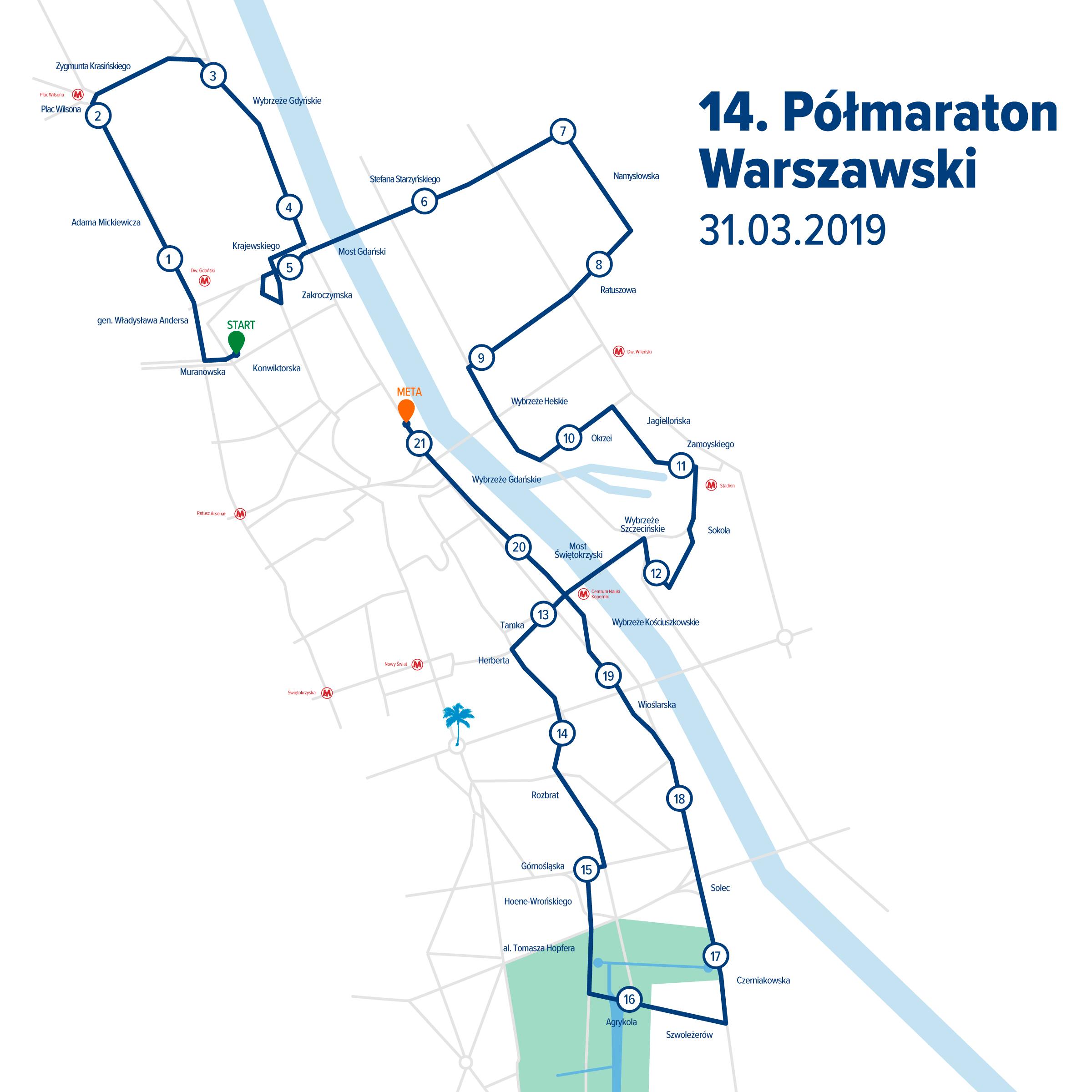 trasa półmaratonu warszawskiego