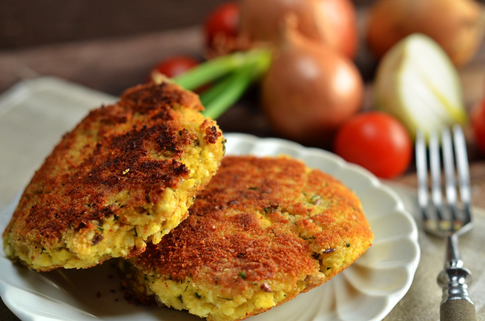 wegetariański obiad, wege kotlety
