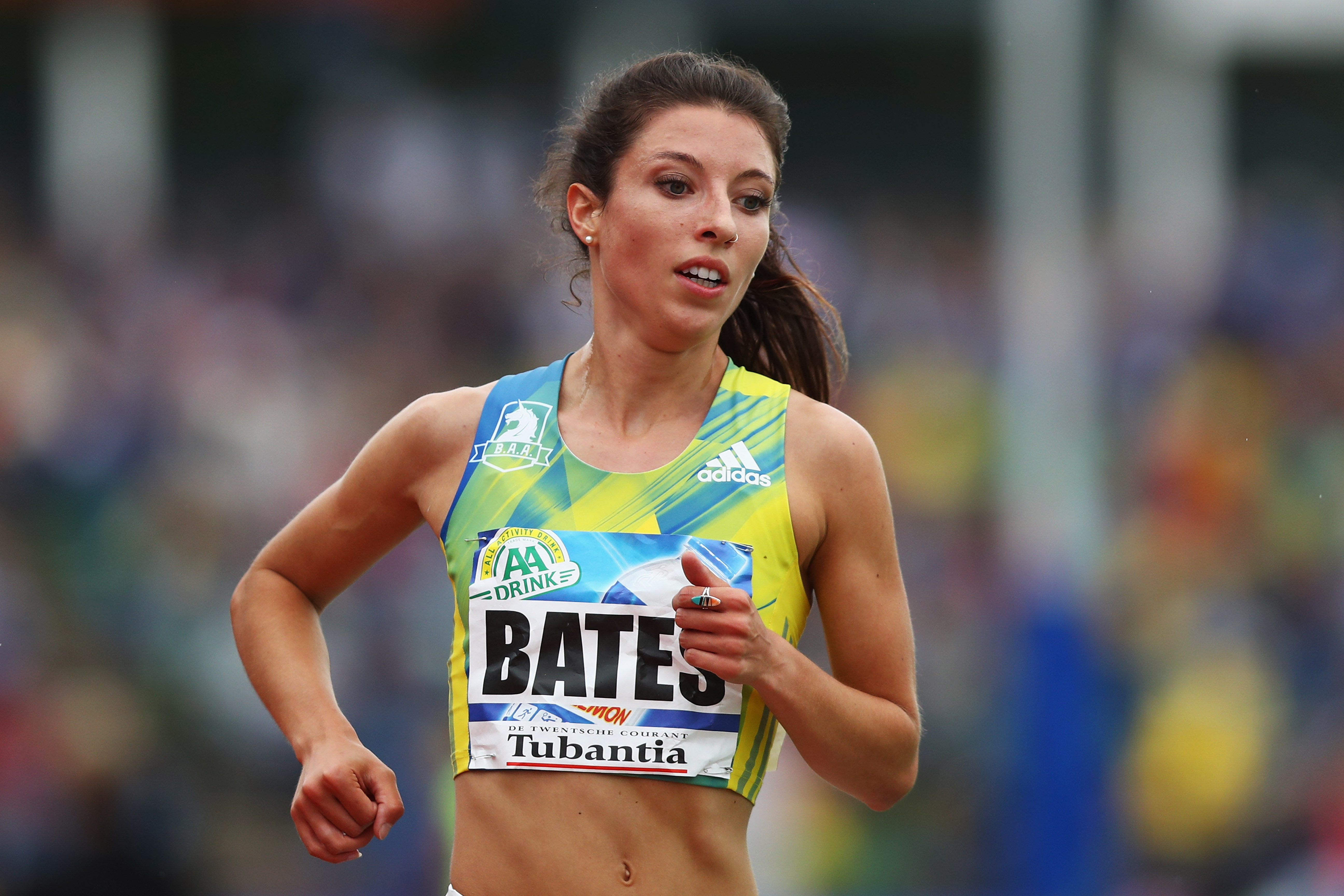 HENGELO, NETHERLANDS - MAY 22: Emma Bates of the USA competes in the Womens 5000m during the AA Drink FBK Games held at the FBK Stadium on May 22, 2016 in Hengelo, Netherlands. (Photo by Dean Mouhtaropoulos/Getty Images)