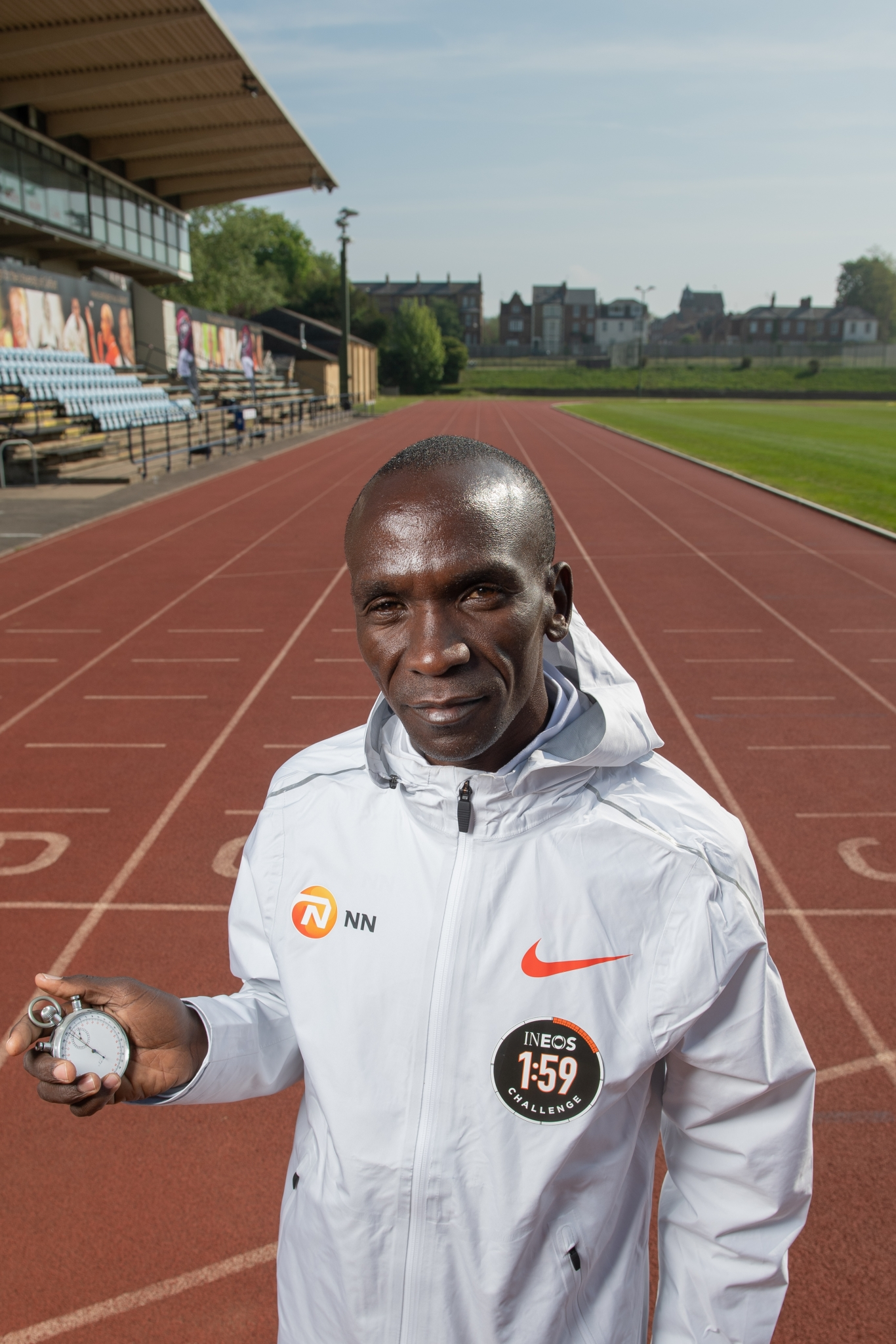 Eliud Kipchoge KEN, with the stopwatch used to time Roger Bannisters sub-4-minute mile at the Iffley road running track on the 30th April 2019. Photo: Thomas Lovelock for london marathon events