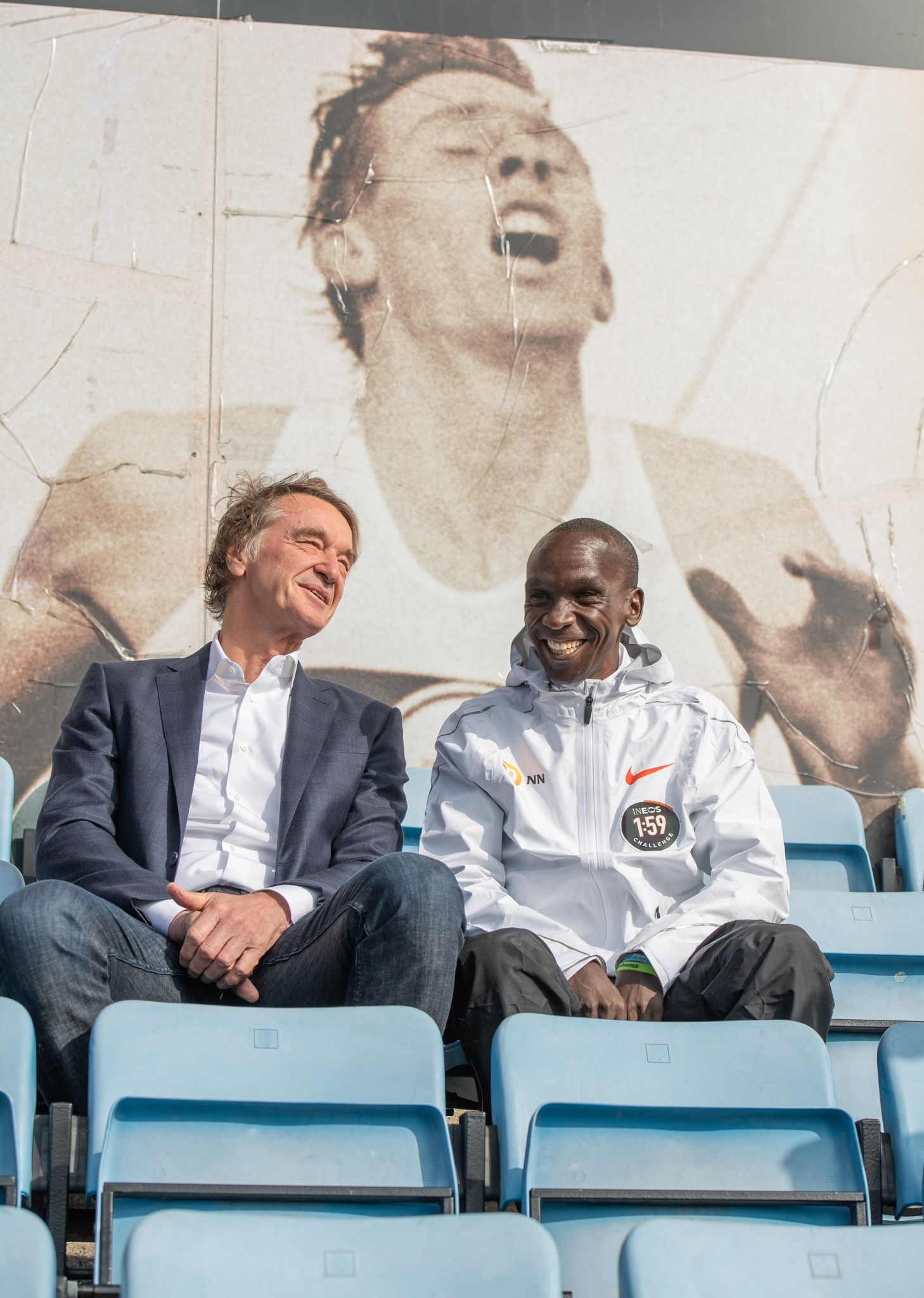 Jim Ratcliffe & Eliud Kipchoge KEN, at the Iffley road running track on the 30th April 2019. Photo: Thomas Lovelock for london marathon events