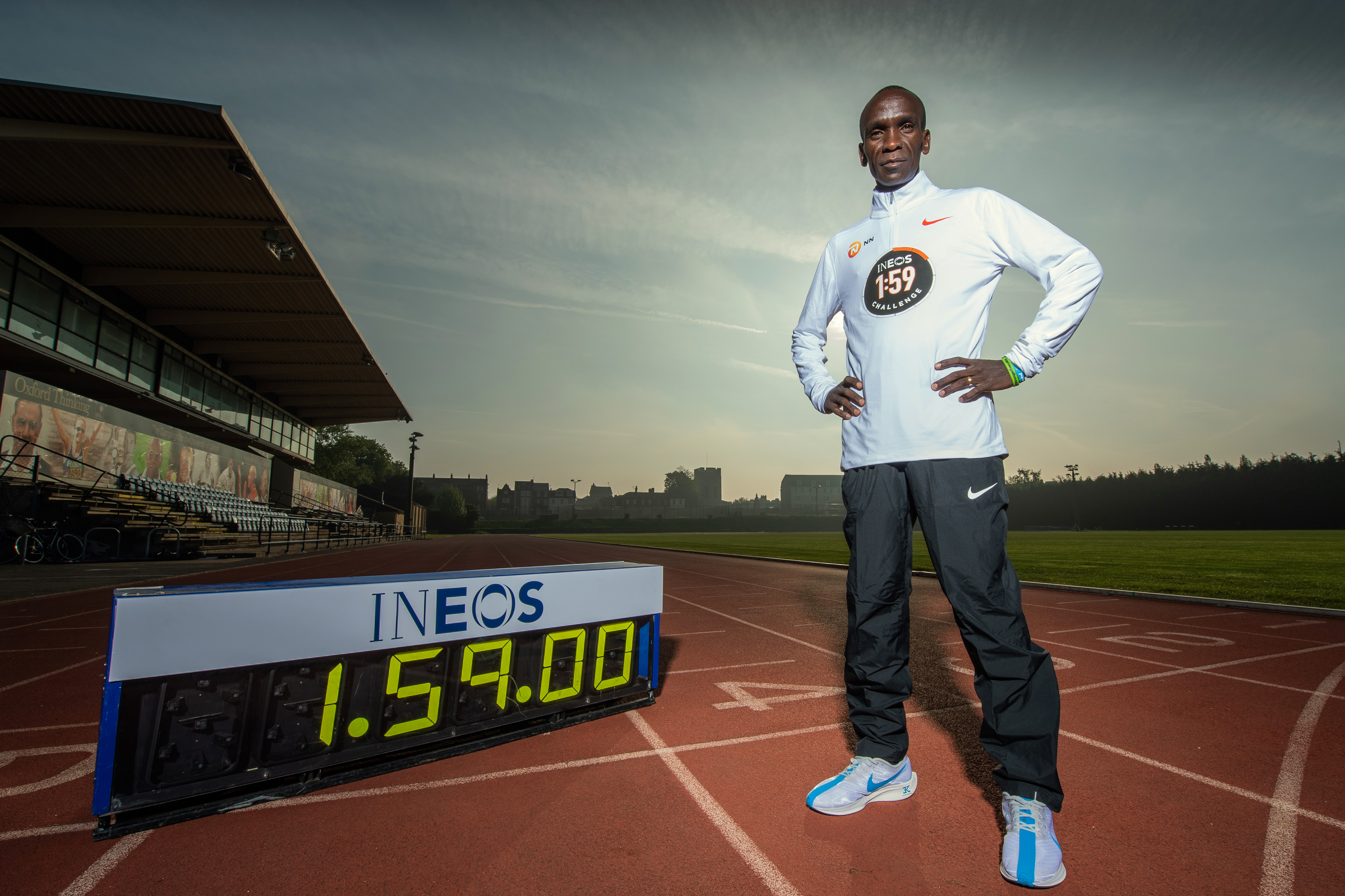 Eliud Kipchoge KEN, at the Iffley road running track on the 30th April 2019. Photo: Thomas Lovelock for london marathon events