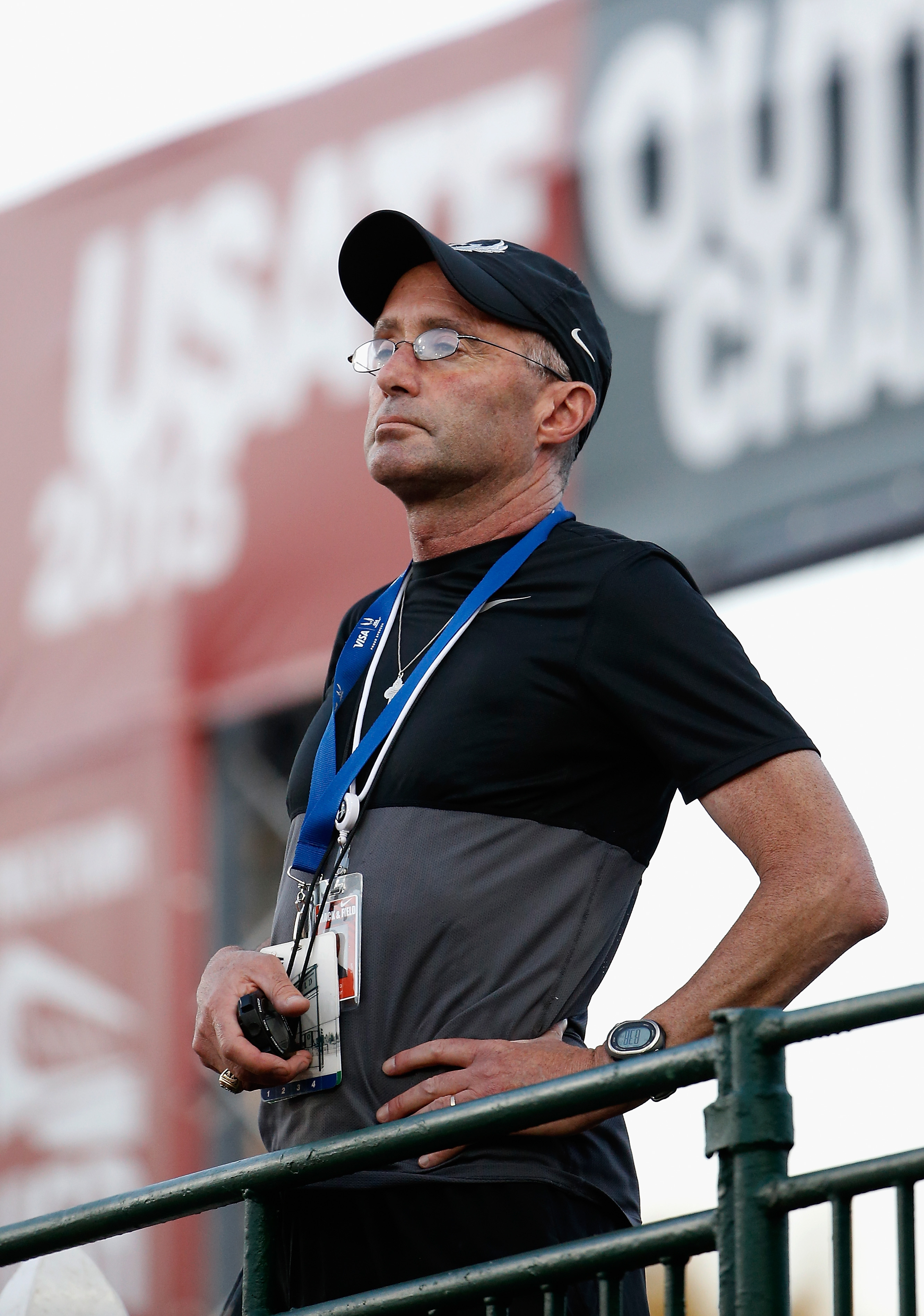 EUGENE, OR - JUNE 25: Nike Oregon Project coach Alberto Salazar watches the Men's 10,000 meter run during day one of the 2015 USA Outdoor Track & Field Championships at Hayward Field on June 25, 2015 in Eugene, Oregon. (Photo by Christian Petersen/Getty Images)