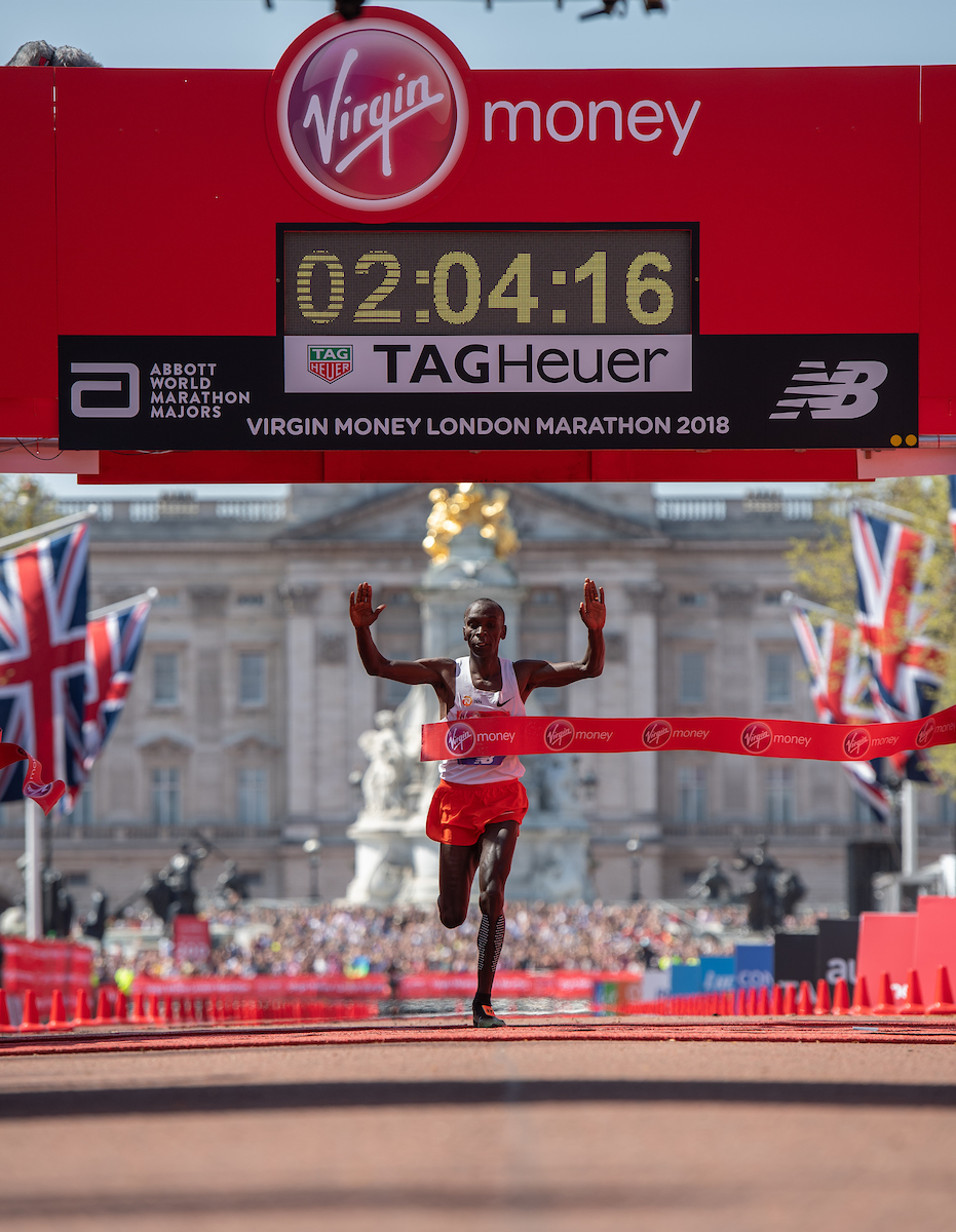 Eliud Kipchoge KEN crosses the line to win the Elite Men's Race. The Virgin Money London Marathon, 22 April 2018. Photo: Thomas Lovelock for Virgin Money London Marathon For further information: media@londonmarathonevents.co.uk