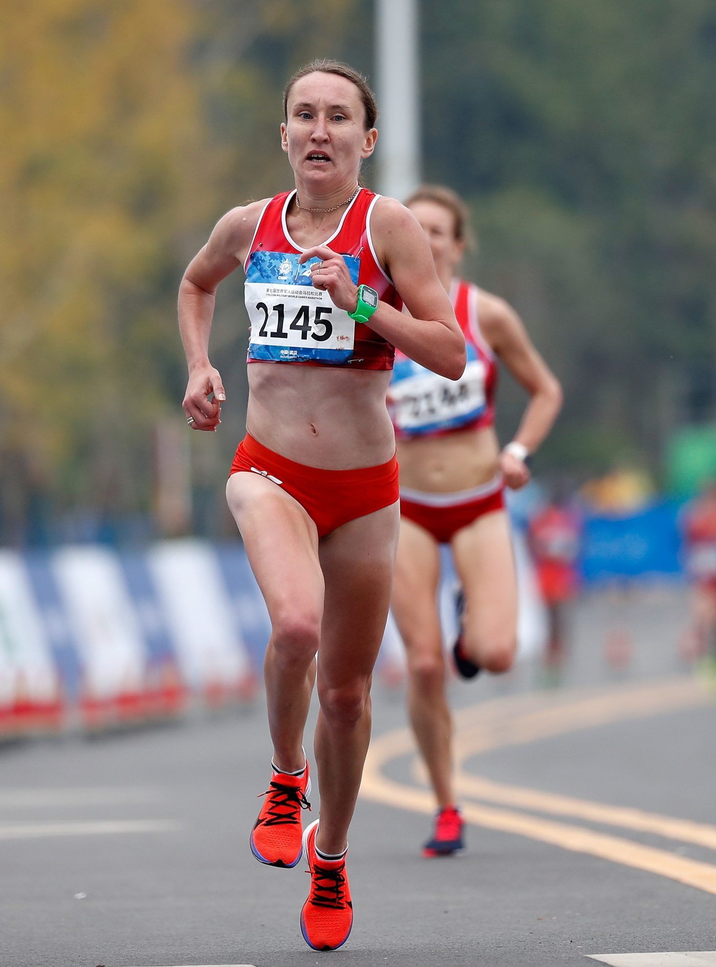 (191027) -- WUHAN, Oct. 27, 2019 (Xinhua) -- Izabela Paszkiewicz of Poland competes during the women's marathon individual final of track and field at the 7th CISM Military World Games in Wuhan, capital of central China's Hubei Province, Oct. 27, 2019. (Xinhua/Wang Lili)